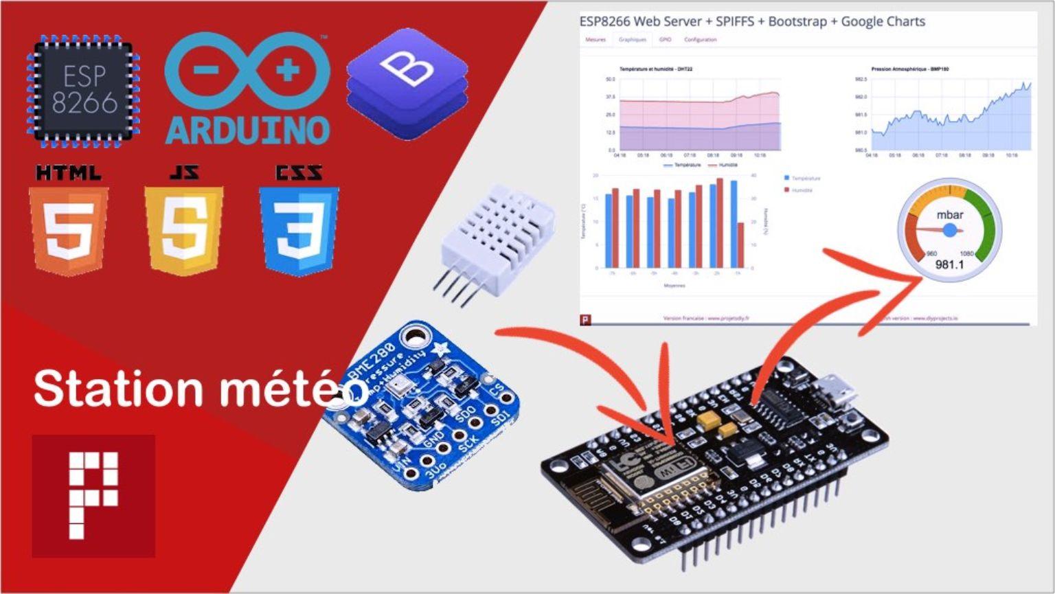 projet de station meteo avec interface HTML sur ESP8266 dht22 + bpm180